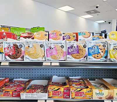 Get cookies and protein bars at Auto Fuels' convenience store.