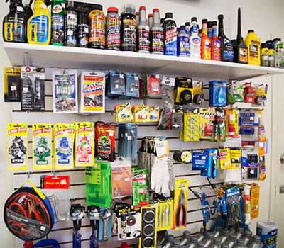 Vehicle maintenance supplies at our convenience store in Oxnard.